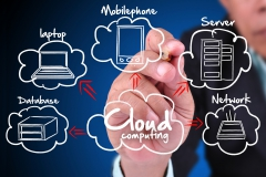 Businessman drawing a Cloud Computing